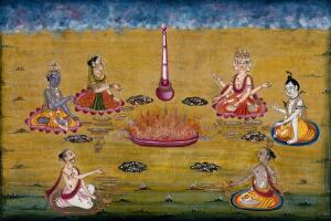 view Vishnu, Lakshmi (?), Brahman, Shiva and two priests perform a yagna, a fire sacrifice, an old vedic ritual where offerings are made to the god of fire, Agni. Gouache painting by an Indian artist.