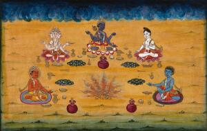 view Vishnu, Brahman and three other deities perform a yagna, a fire sacrifice, an old vedic ritual where offerings are made to the god of fire, Agni. Gouache painting by an Indian artist.