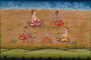 view Four priests holding ritual vessels perform a yagna, a fire sacrifice, an old vedic ritual where offerings are made to the god of fire, Agni. Gouache painting by an Indian artist.