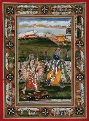 view Vishnu in his incarnation as Parasurama, a Brahman (priest) in battle with Kartavirya, a Kshatriya king, to prove the supremacy of Brahmans over Kshatriyas (kings and warriors). Gouache painting by an Indian painter.