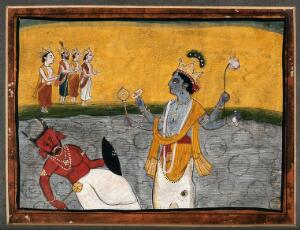 view Matsya; avatar of Vishnu, Vishnu emerges from the mouth of a fish to kill the demon king Hayagriva. Gouache painting by an Indian painter.