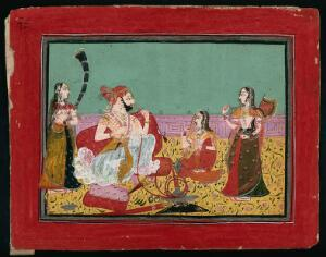 view Maharaja Deepseev (?) sitting and smoking a hookah pipe, as two female attendants fan him and a third looks on. Gouache painting by an Indian painter.