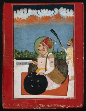 view A Rajput Maharaja with an attendant standing behind. Gouache painting by an Indian painter.