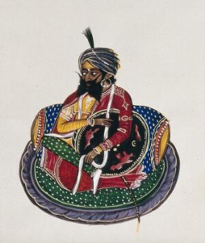 view A Sikh nobleman. Gouache painting by an Indian painter.