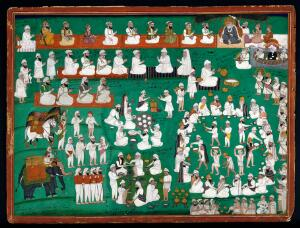 view Kings and other devotees paying homage to Guru Nanak, as food and drinks are organised and served to a number of people. Gouache painting by an Indian painter.
