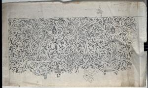 view The cover of a Buddhist painted book box. Drawing by an Indian artist.