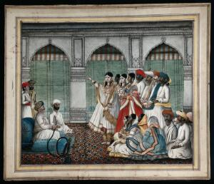 view A Nawab (?) holding a hookah pipe, as a woman dances in front of him, watched by some musicians and a group of people. Gouache painting by an Indian painter.
