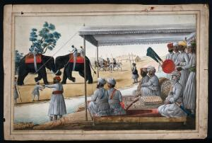 view A Nawab and his guest watching an elephant fight. Gouache painting by an Indian painter.