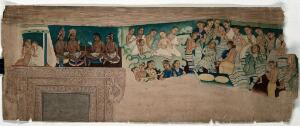 view Cave paintings; a group of female musicians and dancers and Buddhist monks (?) of Indo-African origin. Gouache painting by an Indian painter.