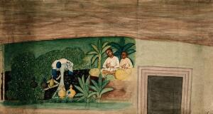 view Cave paintings; two Indo-African men resting. Gouache painting by an Indian painter.