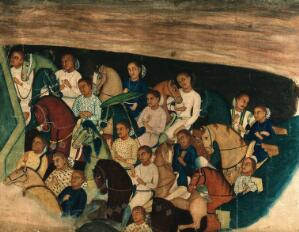 view Cave paintings; a group of Indo Africans on horseback. Gouache painting by an Indian painter.