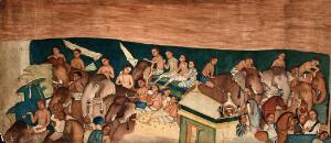 view Cave paintings; a group of Indo African men and women riding on elephants and horses. Gouache painting by an Indian painter.
