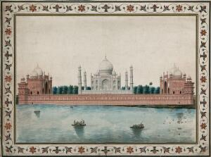 view Agra: Taj Mahal, view from the back. Gouache painting by an Indian painter.