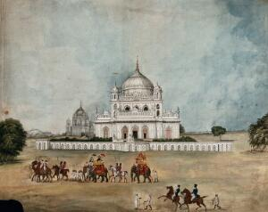 view Two Englishmen on elephants riding in convoy before a Mughal palace or tomb. Gouache painting by an Indian painter.