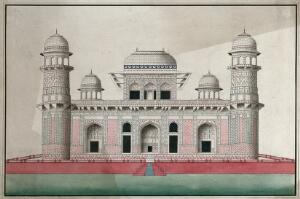 view Agra: marble mausoleum of I'timad al Daula, decorated with mosaic and marble inlay work. Gouache painting by an Indian painter.