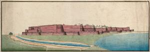 view Agra (?), Red Fort. Gouache painting by an Indian painter.