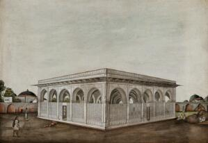 view Men sitting and standing outside a Mughal mausoleum. Gouache painting by an Indian painter.