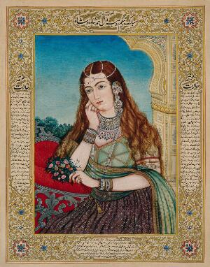 view An European woman in Mughal costume and jewellery. Gouache painting by an Indian painter.