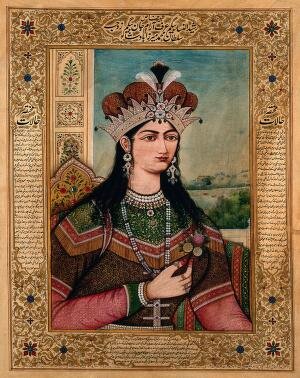 view A Mughal emperess or member of the royal family wearing an elaborate crown and holding a flower. Gouache painting by an Indian painter.