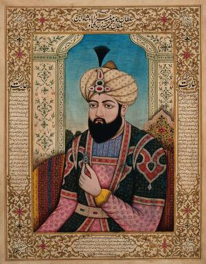 view A member of the Mughal royal family holding a turban ornament. Gouache painting by an Indian painter.