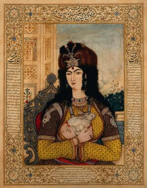 view Badshah Humayun's Begum holding a rabbit. Gouache painting by an Indian painter.