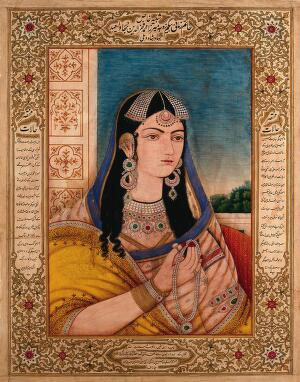 view A Mughal empress or member of a royal family holding a necklace. Gouache painting by an Indian painter.