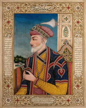 view A Mughal emperor or member of a royal family holding a turban ornament: in profile. Gouache painting by an Indian painter.