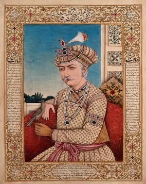 view A Mughal emperor or member of a royal family, with a falcon (?) pirched on his hand. Gouache painting by an Indian painter.
