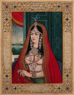 view Mohammad Shah Bahadur's begum. Gouache painting by an Indian painter.