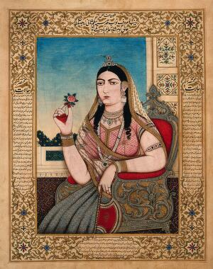 view A member of a Mughal royal family sitting on a chair, holding a fan and a flower in her hands. Gouache painting by an Indian painter.