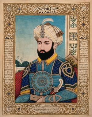 view A Sikh commander (?). Gouache painting by an Indian painter.