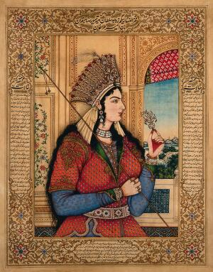 view A Mughal empress or member of a royal family holding a spear and turban ornament. Gouache painting by an Indian painter.