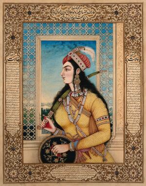 view Badshah of Jalundur's begum holding a sword and a shield. Gouache painting by an Indian painter.