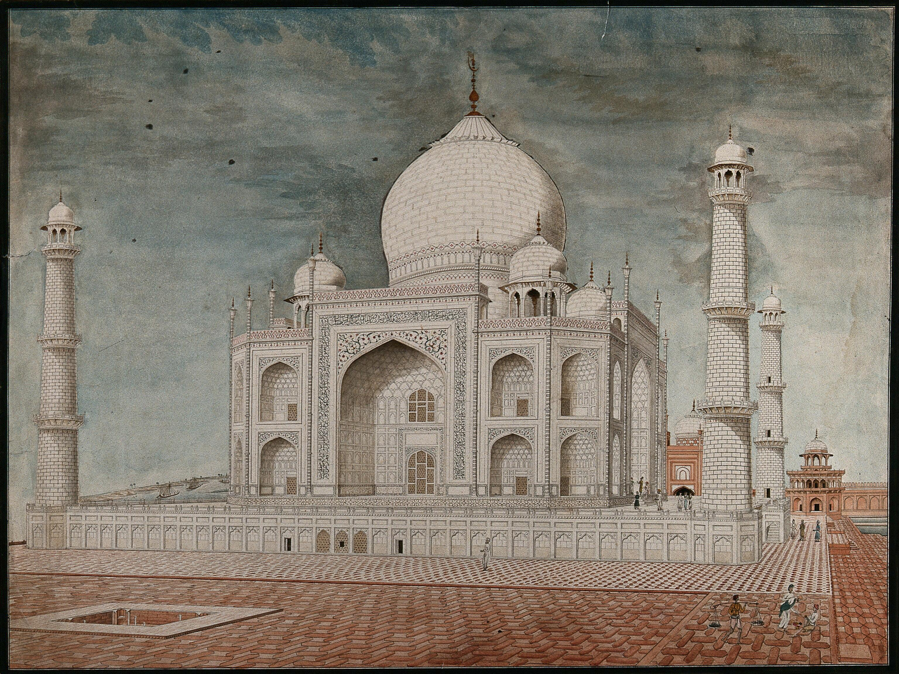 Agra: the Taj Mahal  Watercolour painting by an Indian