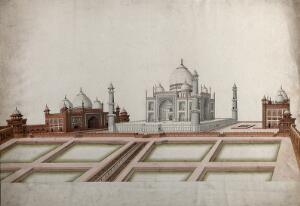 view Agra: View of the Taj Mahal and the two red sand stone buildings on either side. Gouache painting by an Indian painter.