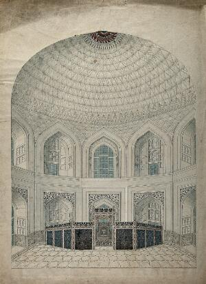 view Agra: the Taj Mahal, interior view of the vaulted dome over the tombs of Shah Jahan and Mumtaz. Gouache painting by an Indian painter.