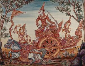 view A scene from Ramakian or Ramayan, the Indian epic: Rama riding on top of a chariot holding a sword, along with Lakshman and Sita (?). Gouache painting by a Thai artist.