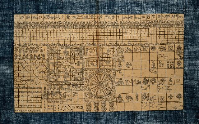 Astrology chart: table to indicate lucky and unlucky periods, as well as the chances of undertakings. Chromolithograph.