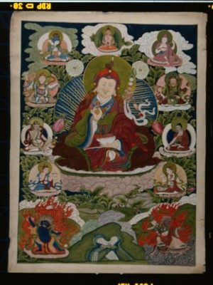 view Guru Rinpoche (Padmasambhava), the main founder of Buddhism in Tibet, surrounded by other forms of himself. Gouache painting by a Tibetan artist.