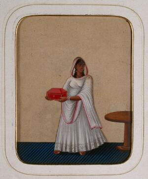 view A maidservant holding a jewellery box. Gouache painting on mica by an Indian artist.