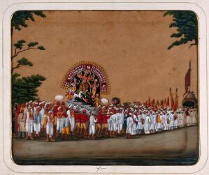 view Durga Puja: a procession carrying an idol of Durga to honour her victory over evil. Gouache painting on mica by an Indian artist.