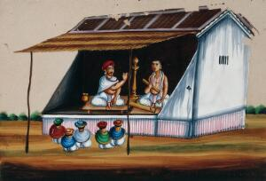 view Two men reciting the Ramayana to an audience. Gouache painting on mica by an Indian artist.