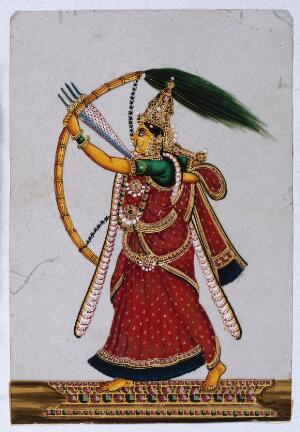 view A goddess (?) shooting arrows with a bow. Gouache painting on mica by an Indian artist.