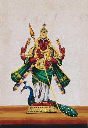 view Indra, the god of thunder and rain holding a vajra and a spear. Gouache painting by an Indian artist.