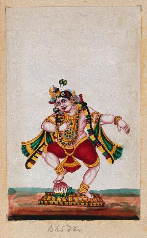 view Lord Balarama (?) dancing on a lotus. Gouache painting by an Indian artist.