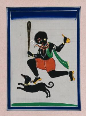 view Lord Shiva in his form as Bhairav along with his vehicle, the dog. Gouache painting by an Indian artist.