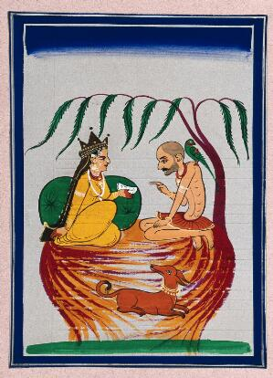 view A queen (?) consults a hermit sitting under a tree along with his dog. Gouache painting by an Indian artist.