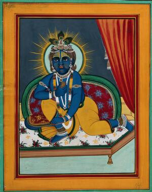 view Krishna as a child. Painting by an Indian artist, 1800s.