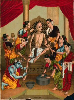 view A Hindu ascetic is bathed and honoured by a seven women and Krishna. Chromolithograph by an Indian artist, 1800s.