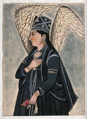 view A Mughal style peri (fairy) dressed in black. Gouache painting by an Indian artist.